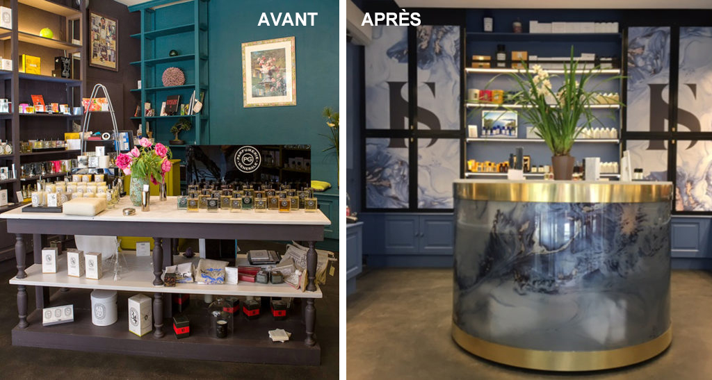 Table de présentation et aménagement des placards Parfumerie Bordelaise